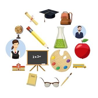 Conjunto de ícones de escola, estilo cartoon