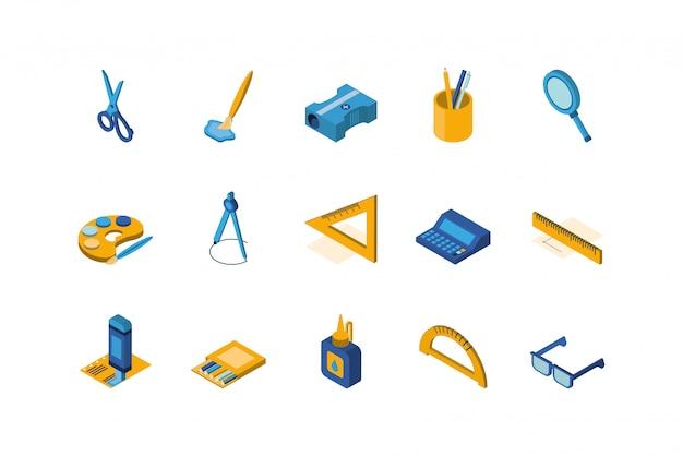 Conjunto de ícones de escola isolada vector design