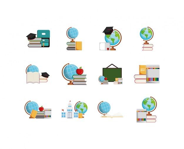 Conjunto de ícones de escola isolada
