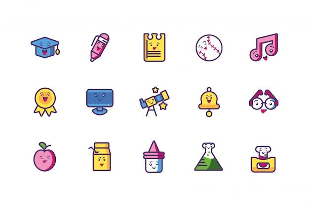 Conjunto de ícones de escola kawaii desenhos animados vector design