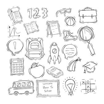 Conjunto de ícones de escola ou elementos com desenho ou estilo doodle