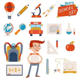 Conjunto de ícones de escola vintage, designs gráficos isolados