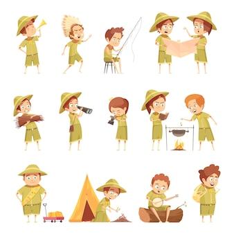 Conjunto de ícones de escoteiro retrô dos desenhos animados