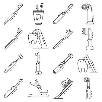 Conjunto de ícones de escova de dentes. conjunto de contorno dos ícones do vetor de escova de dentes