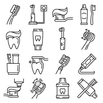 Conjunto de ícones de escova de dentes, estilo de estrutura de tópicos