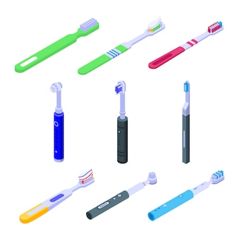 Conjunto de ícones de escova de dentes, estilo isométrico