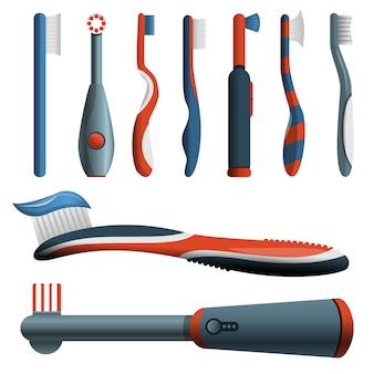 Conjunto de ícones de escova de dentes