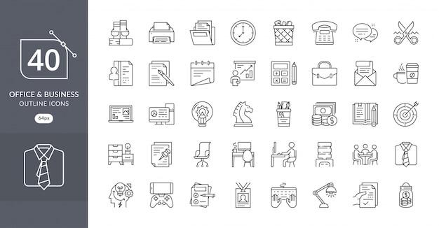 Conjunto de ícones de escritório de negócios
