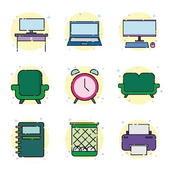 Conjunto de ícones de escritório de trabalho