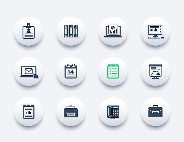Conjunto de ícones de escritório, documentos, relatórios, pastas, correio, programação e fax