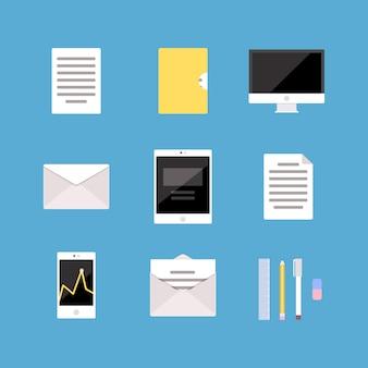 Conjunto de ícones de escritório e negócios