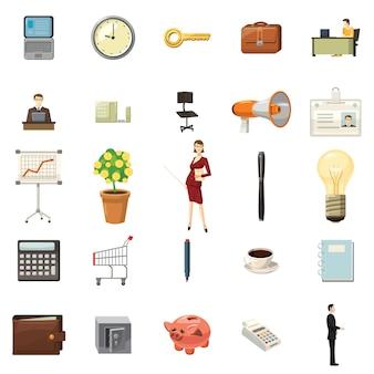 Conjunto de ícones de escritório em estilo cartoon sobre um fundo branco