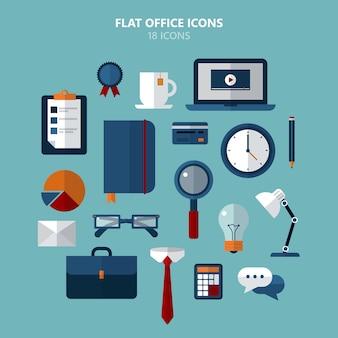 Conjunto de ícones de escritório em estilo simples