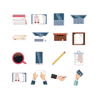 Conjunto de ícones de escritório isolado