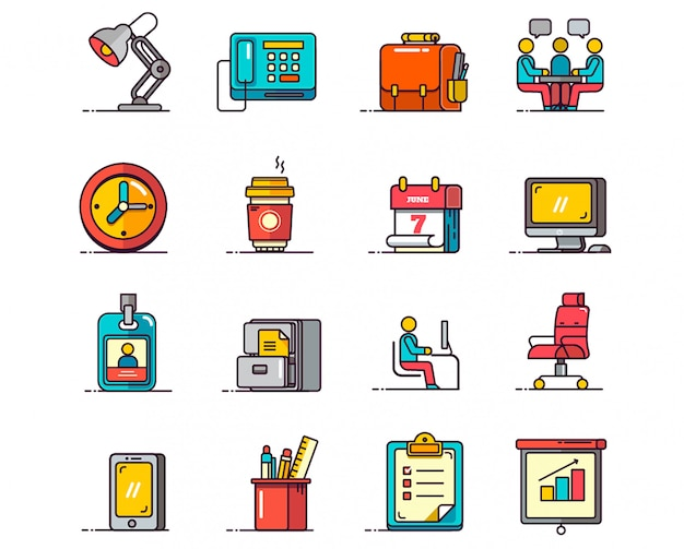 Conjunto de ícones de escritório vector