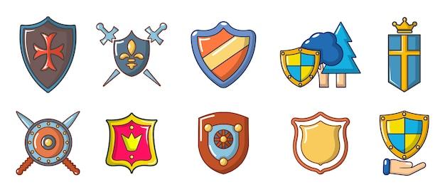 Conjunto de ícones de escudo. conjunto de desenhos animados de ícones do vetor de escudo conjunto isolado