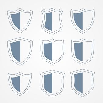 Conjunto de ícones de escudo de proteção de segurança