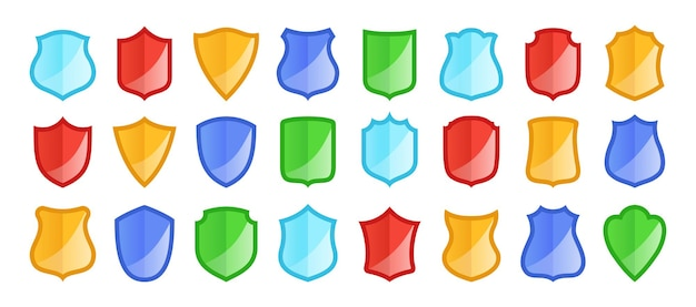 Conjunto de ícones de escudo de proteção médica proteção de saúde sinal de forma de escudo