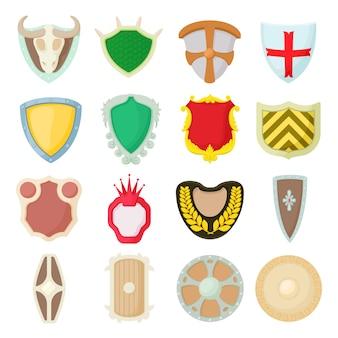 Conjunto de ícones de escudo em estilo cartoon isolado