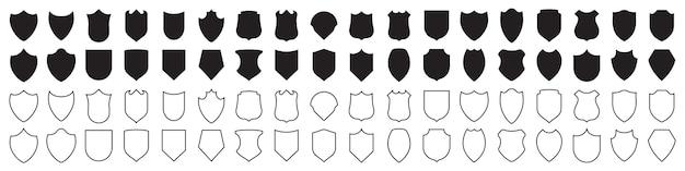 Conjunto de ícones de escudo em preto.
