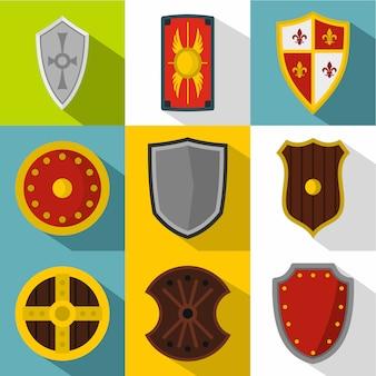 Conjunto de ícones de escudo, estilo simples