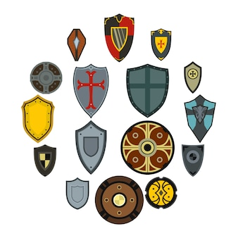 Conjunto de ícones de escudos, estilo simples