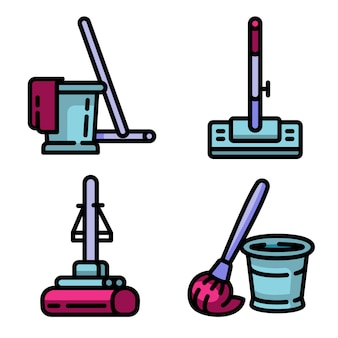 Conjunto de ícones de esfregão