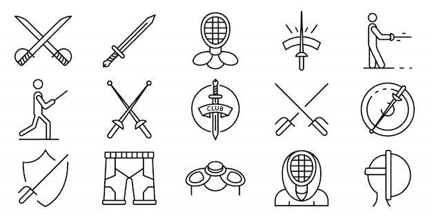 Conjunto de ícones de esgrima, estilo de estrutura de tópicos