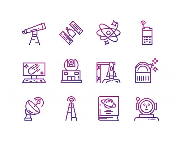 Conjunto de ícones de espaço isolado vector design