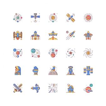 Conjunto de ícones de espaço universo com linha colorida preenchida isolada