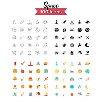 Conjunto de ícones de espaço.
