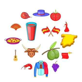 Conjunto de ícones de espanha, estilo cartoon