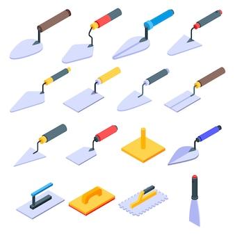 Conjunto de ícones de espátula, estilo isométrico