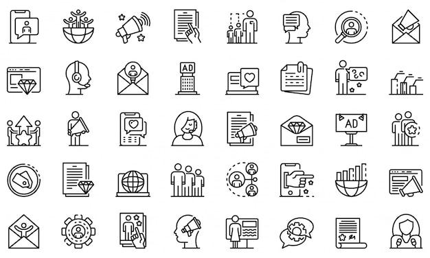Conjunto de ícones de especialista de relações públicas, estilo de estrutura de tópicos