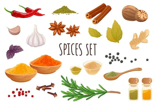 Conjunto de ícones de especiarias em design 3d realista pacote de pimenta malagueta, canela, alho, gengibre, alecrim, noz-moscada
