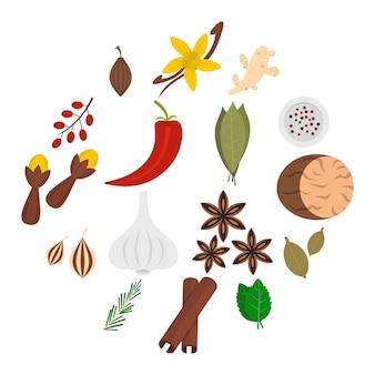 Conjunto de ícones de especiarias em estilo simples