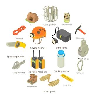 Conjunto de ícones de espeleologista, estilo isométrico