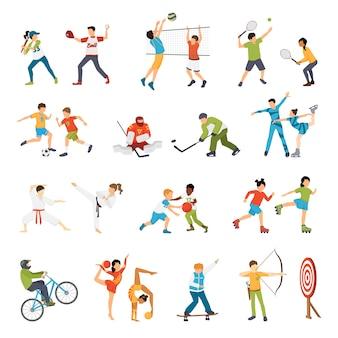 Conjunto de ícones de esporte de crianças