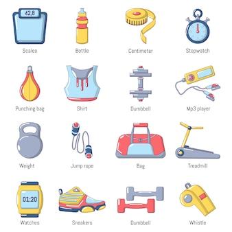 Conjunto de ícones de esporte de ginásio