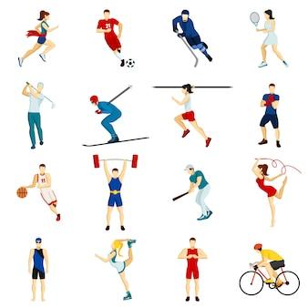 Conjunto de ícones de esporte de pessoas