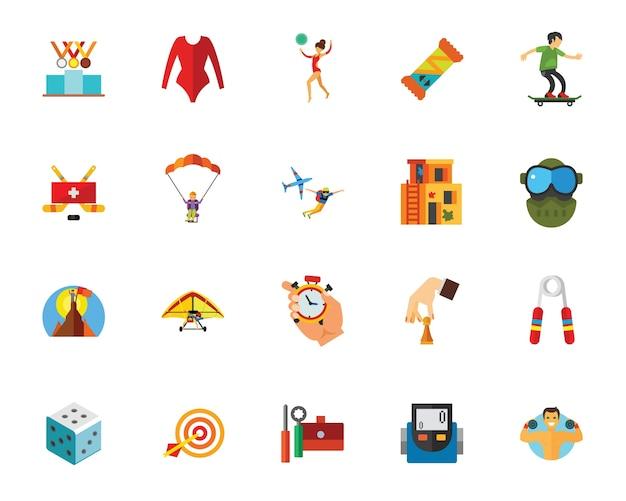 Conjunto de ícones de esporte e competição