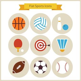 Conjunto de ícones de esporte e recreação plana. coleção de ícones coloridos do círculo do esporte do estilo de vida saudável. competição de atividades esportivas e jogos de esportes de equipe