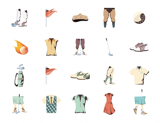 Conjunto de ícones de esporte golfe isolado