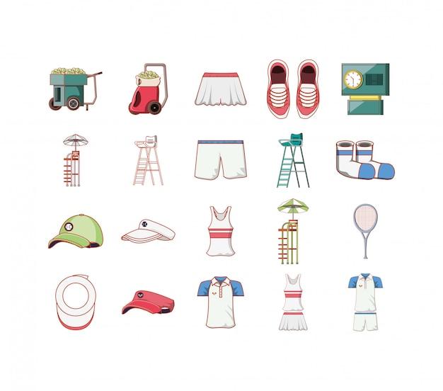 Conjunto de ícones de esporte tênis isolado