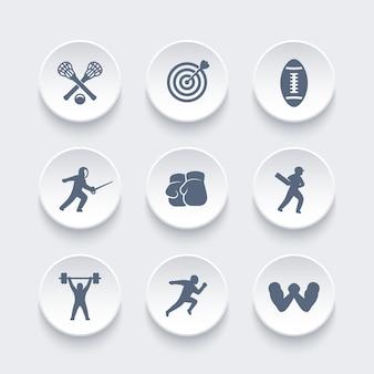 Conjunto de ícones de esportes, arco e flecha, boxe, lacrosse, críquete, corrida, corrida, queda de braço, esgrima, levantamento de peso