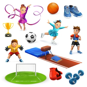 Conjunto de ícones de esportes, atletas e equipamentos