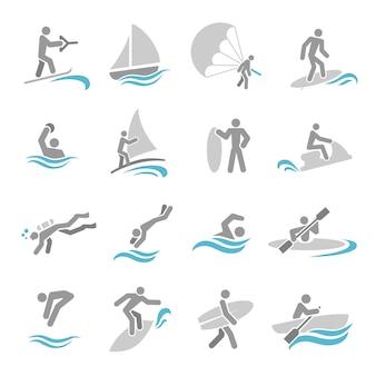 Conjunto de ícones de esportes de água