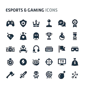 Conjunto de ícones de esportes e jogos. série de ícone preto fillio.