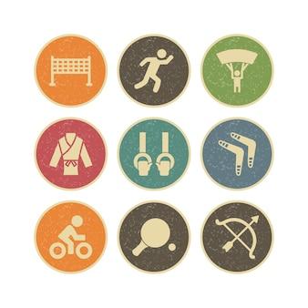 Conjunto de ícones de esportes e jogos