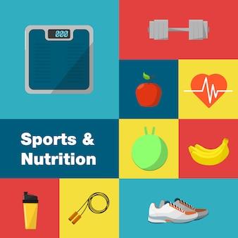 Conjunto de ícones de esportes e nutrição